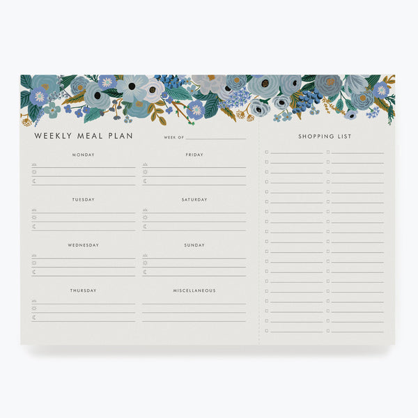 Rifle Paper Co. Garden Party Blue Meal Planner Notepad