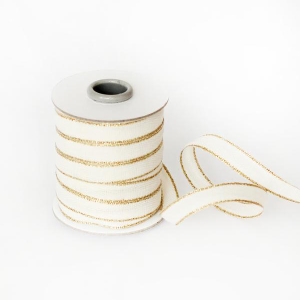 Studio Carta Drittofilo Cotton Ribbon - Natural & Gold