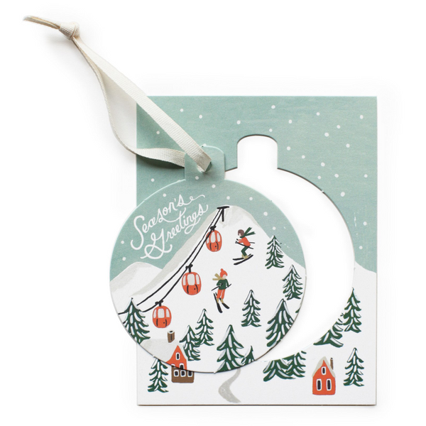 Rifle Paper Co. Ornament Card Set, Holiday Snow Scene