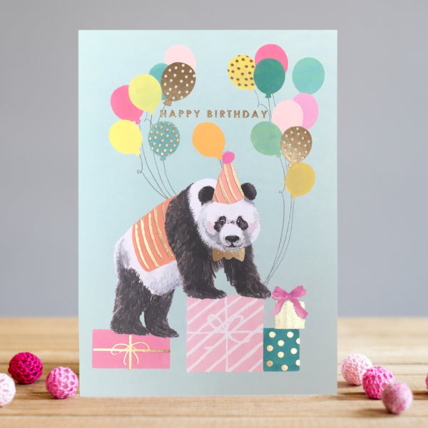 Louise Tiler Panda Balloons Birthday Card