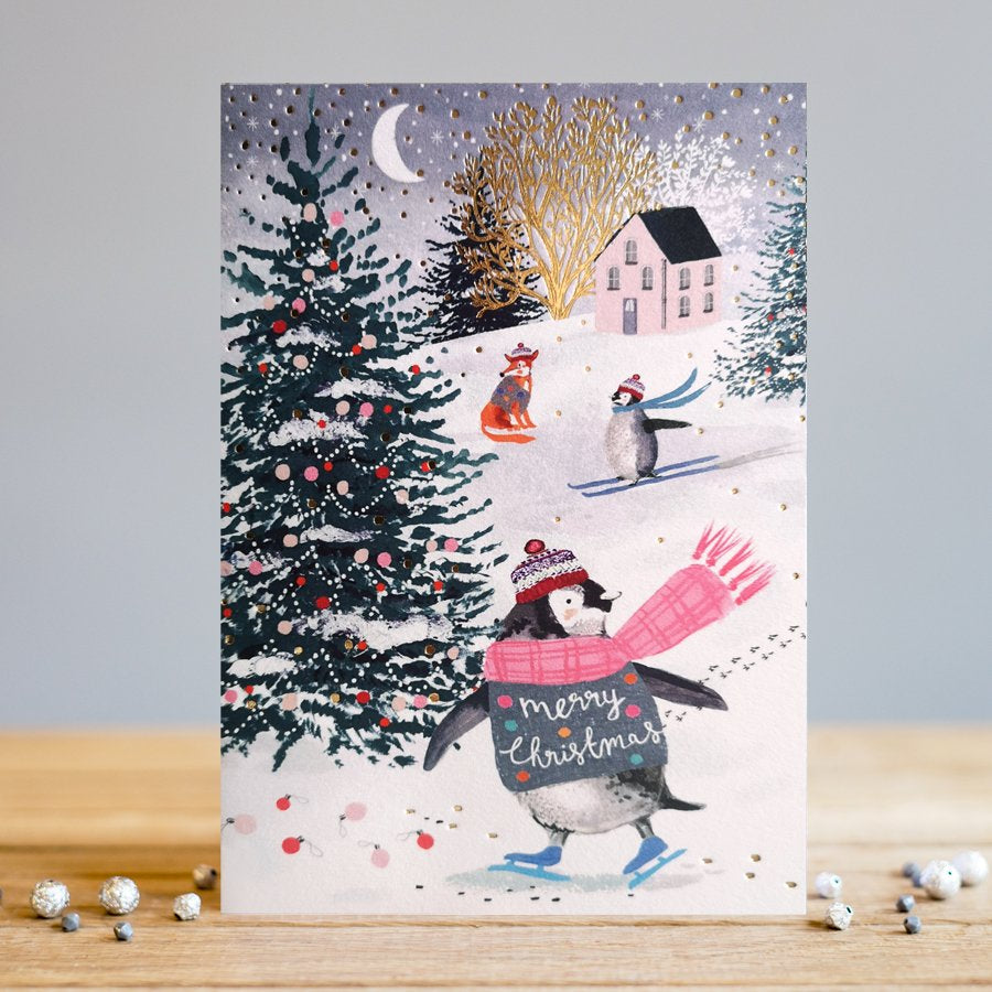 Louise Tiler Penguins In The Snow Christmas Card