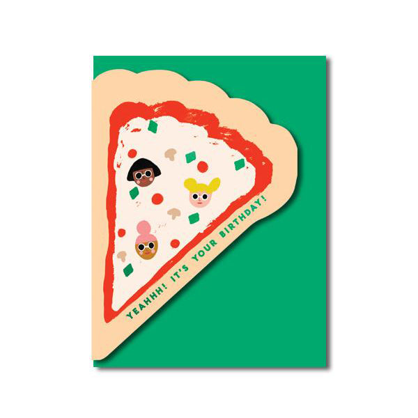 Carolyn Suzuki Pizza Die-Cut Birthday Card