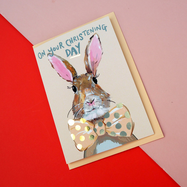 Eleanor Bowmer Rabbit Christening Baby Card