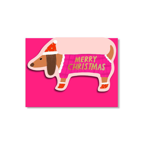 Carolyn Suzuki Sausage Doggie Christmas Card