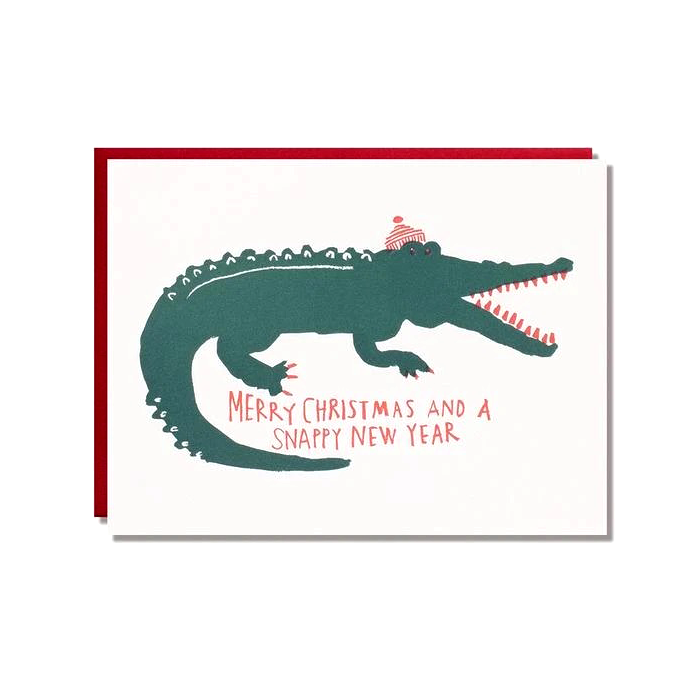 Egg Press Alligator Christmas Card