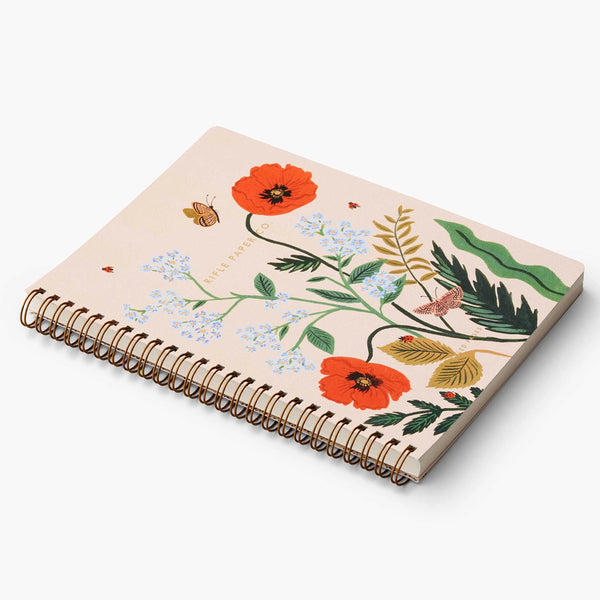 Rifle Paper Co. Spiral Notebook - Poppy Botanical