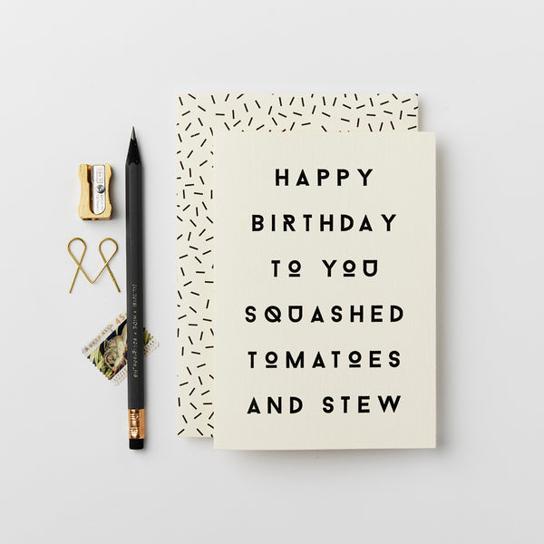 Katie Leamon Squashed Tomatoes Birthday Card