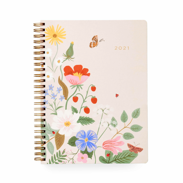Rifle Paper Co. 2021 Strawberry Fields 12 Month Softcover Spiral Planner