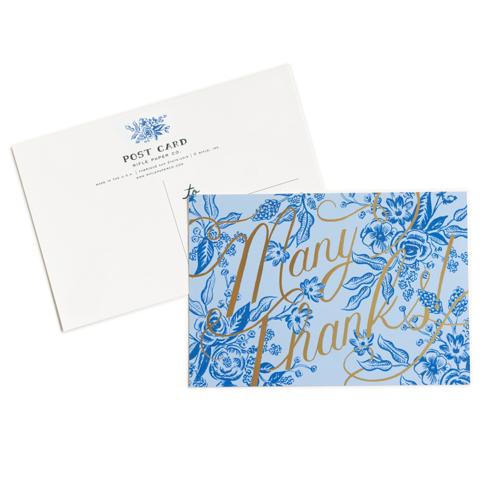 Rifle Paper Co. Toile Thanks Postcards