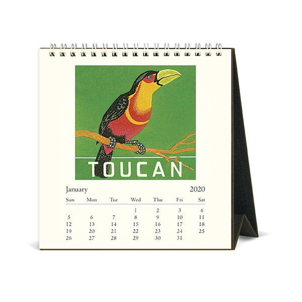 Cavallini & Co. 2020 Vintage Birds Desk Calendar Inside