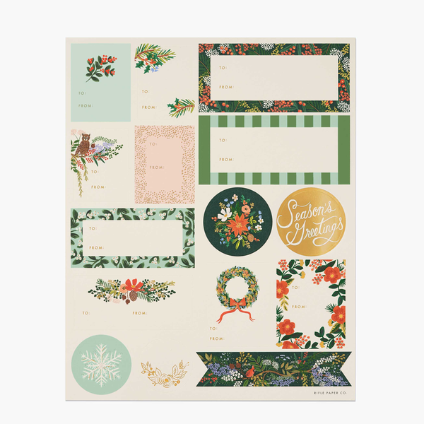 Rifle Paper Co. Winter Floral Christmas Stickers & Labels