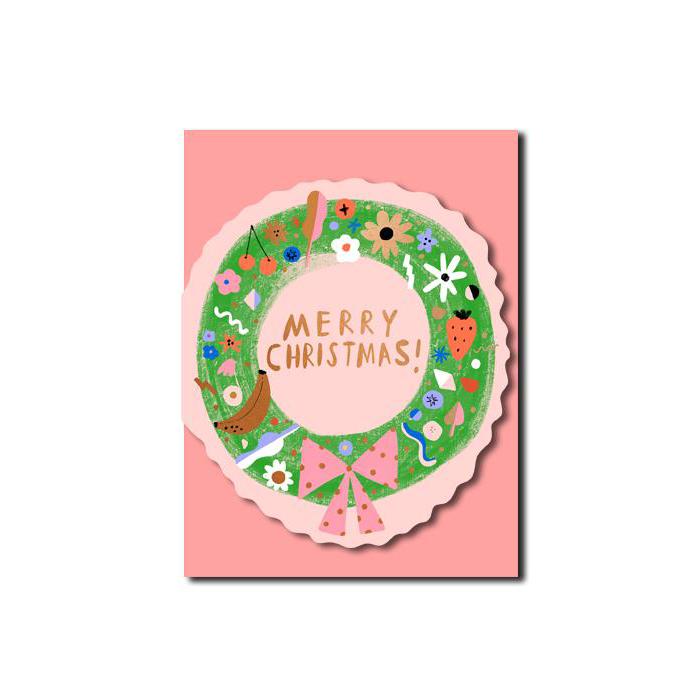 Carolyn Suzuki Christmas Wreath Card