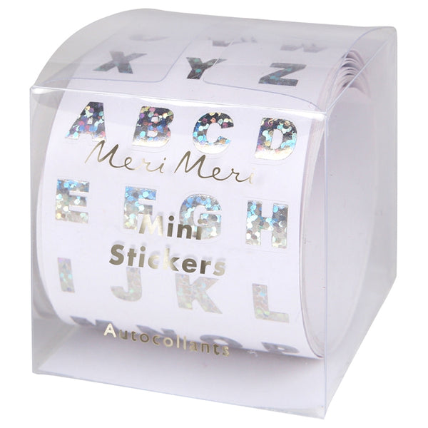 Meri Meri Mini Sparkly Silver Foil Alphabet Sticker Roll