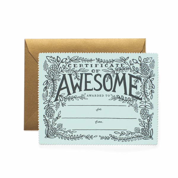Rifle Paper Co. Certificate of Awesome Flat Note