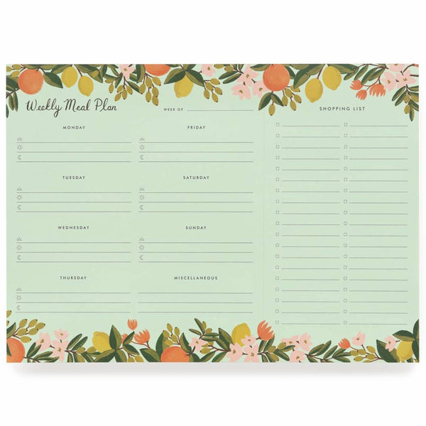 Rifle Paper Co. Citrus Floral Meal Planner Notepad