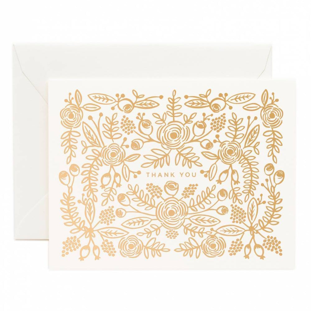 Rifle Paper Co. Rose Gold Thank You Card (Folk)