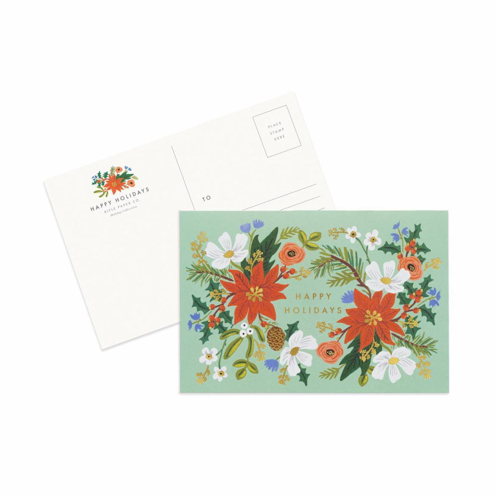 Rifle Paper Co. Pack of 10 Holiday Floral Christmas Postcards