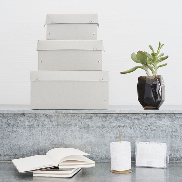 Memo Box Set Of 3 - Light Grey