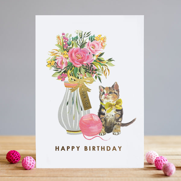 Louise Tiler Kitten & Yarn Birthday Card