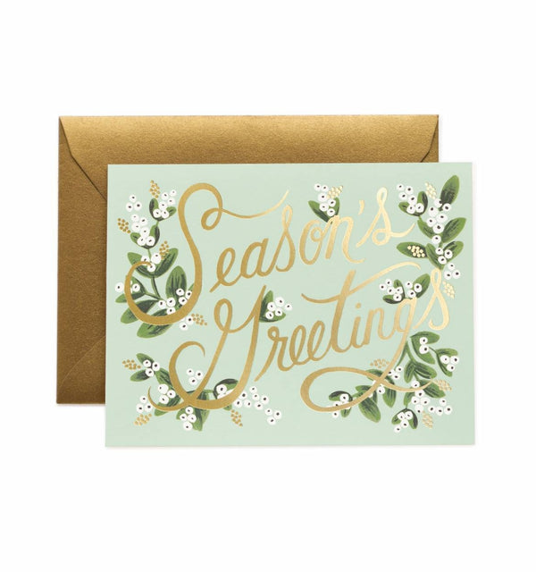 Rifle Paper Co. Mistletoe Season's Greetings Christmas Card SET