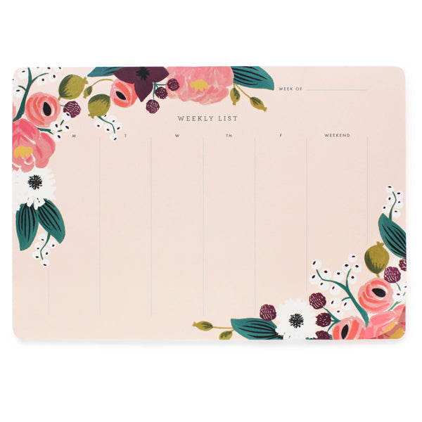 Rifle Paper Co. Pink Floral Weekly Desk Pad