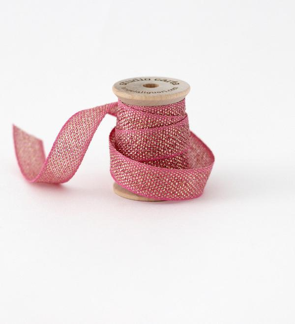 Studio Carta Metallic Loose Weave Ribbon - Fuchsia & Gold
