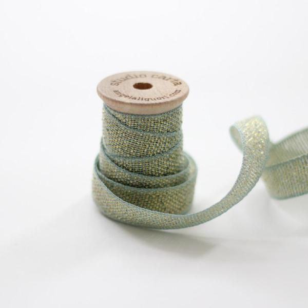 Studio Carta Metallic Loose Weave Ribbon - Pool & Gold
