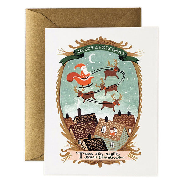 Rifle Paper Co. Twas The Night Christmas Card - Christmas Sleigh