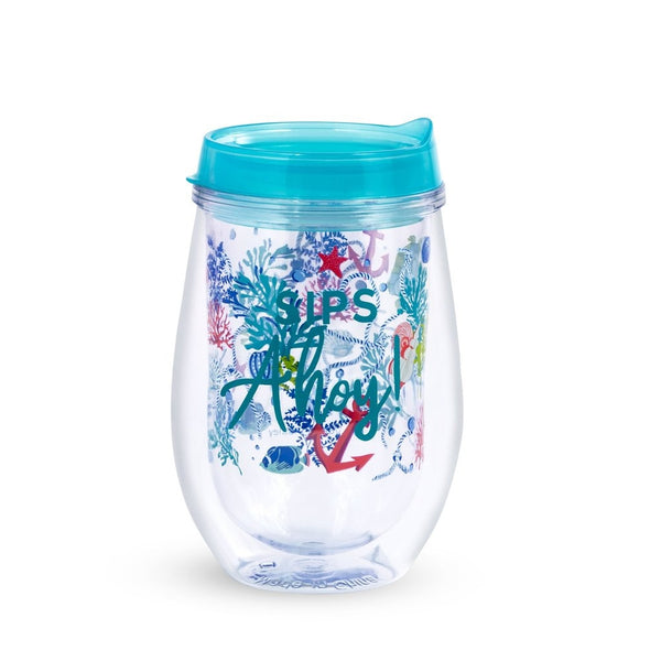 Vera Bradley Wine Glass With Lid, Shore Thing