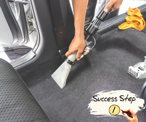 cleaning floor of car with a carpet extractor