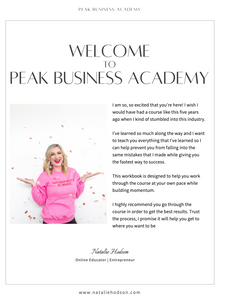 Peak Business Academy Digital Workbook