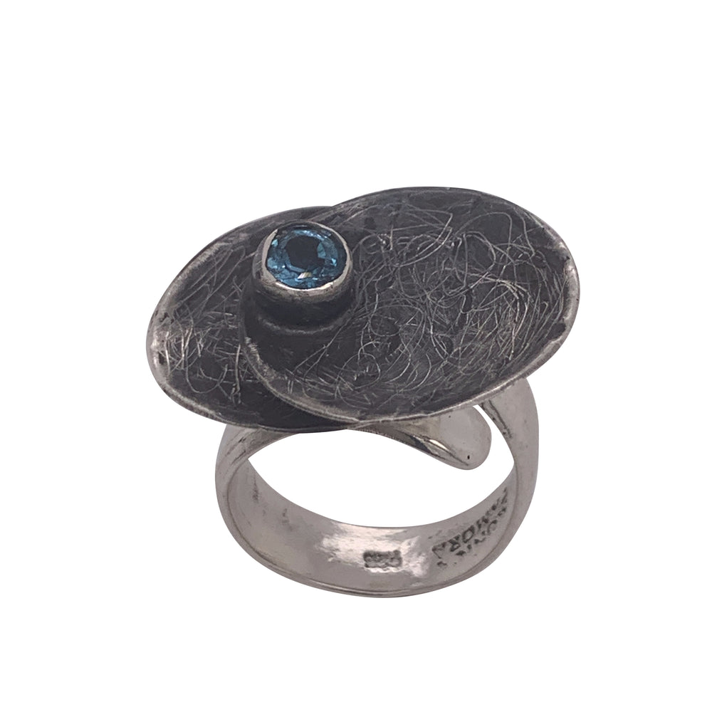 STERLING SILVER DOUBLE COIN GEMSTONE ADJUSTABLE RING