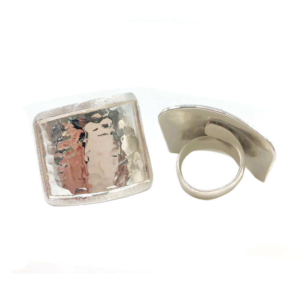STERLING SILVER ASYMMETRIC SQUARE ADJUSTABLE RING