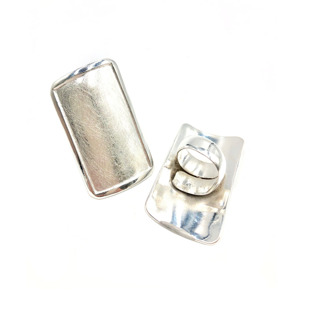 STERLING SILVER ASYMMETRIC RECTANGLE AJUSTABLE RING