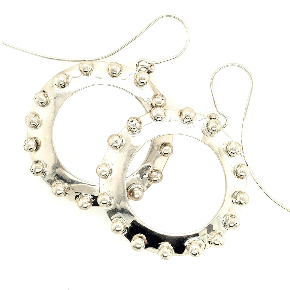 STERLING SILVER BEADED DISK EARRINGS