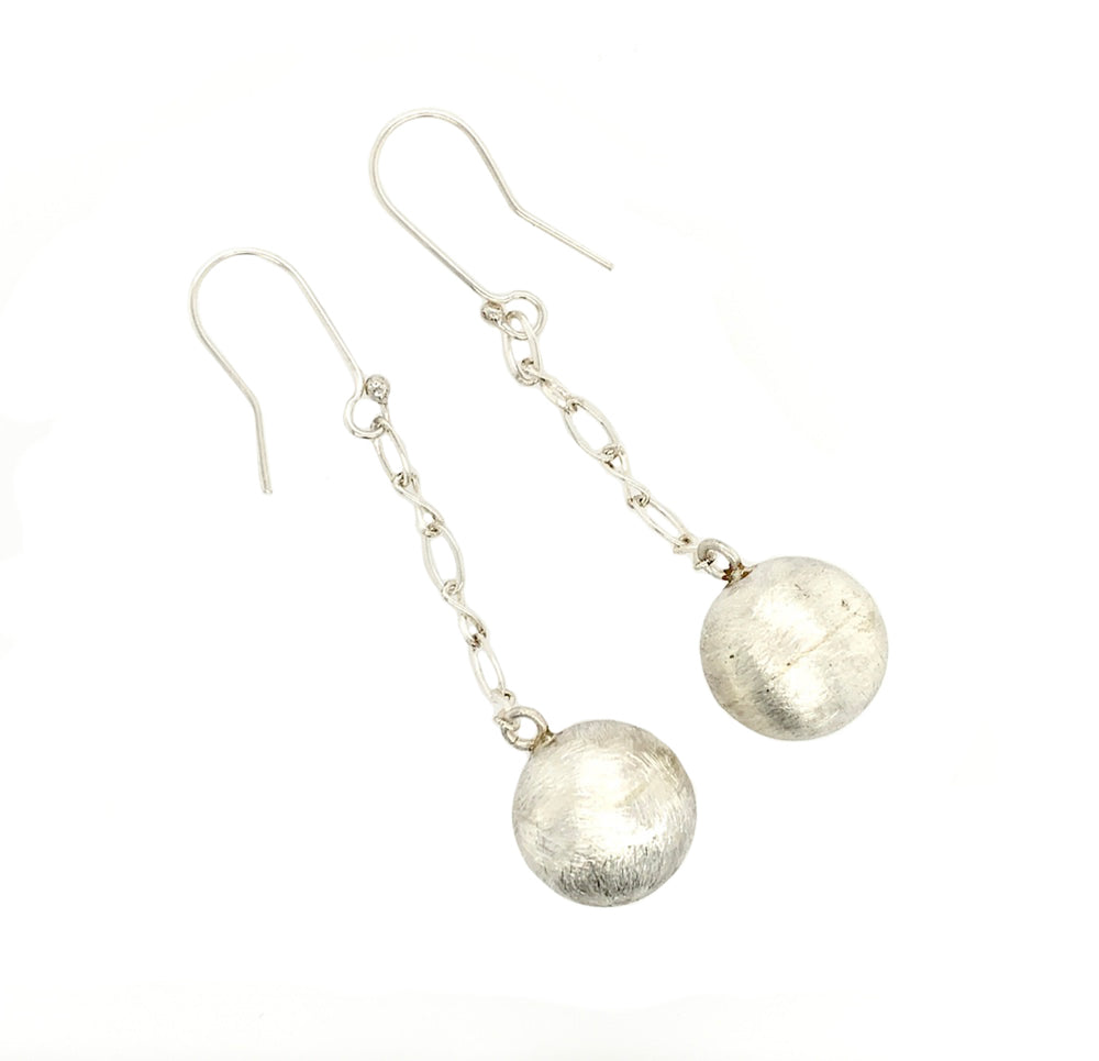 STERLING SILVER SHPERE CHAIN EARRINGS