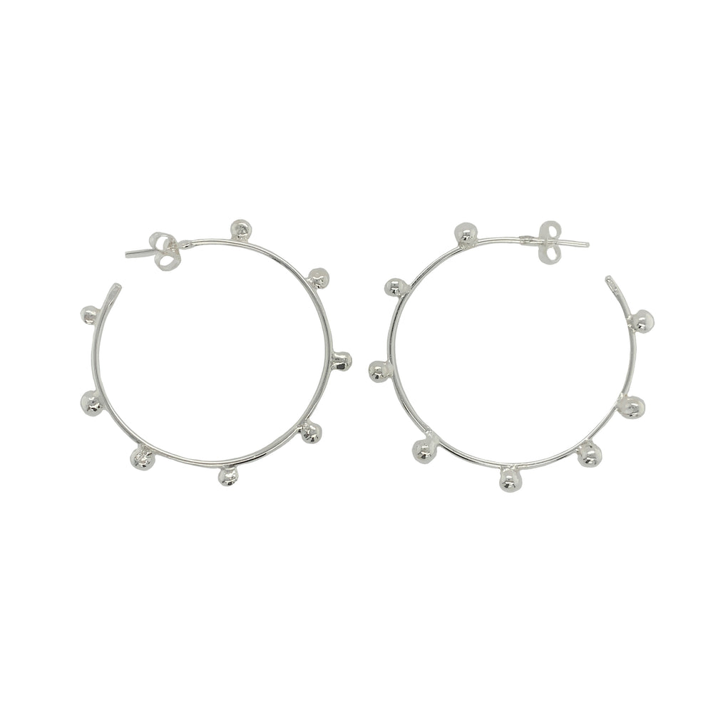 STERLING SILVER MORNING DEW BEADED HOOPS  EARRINGS