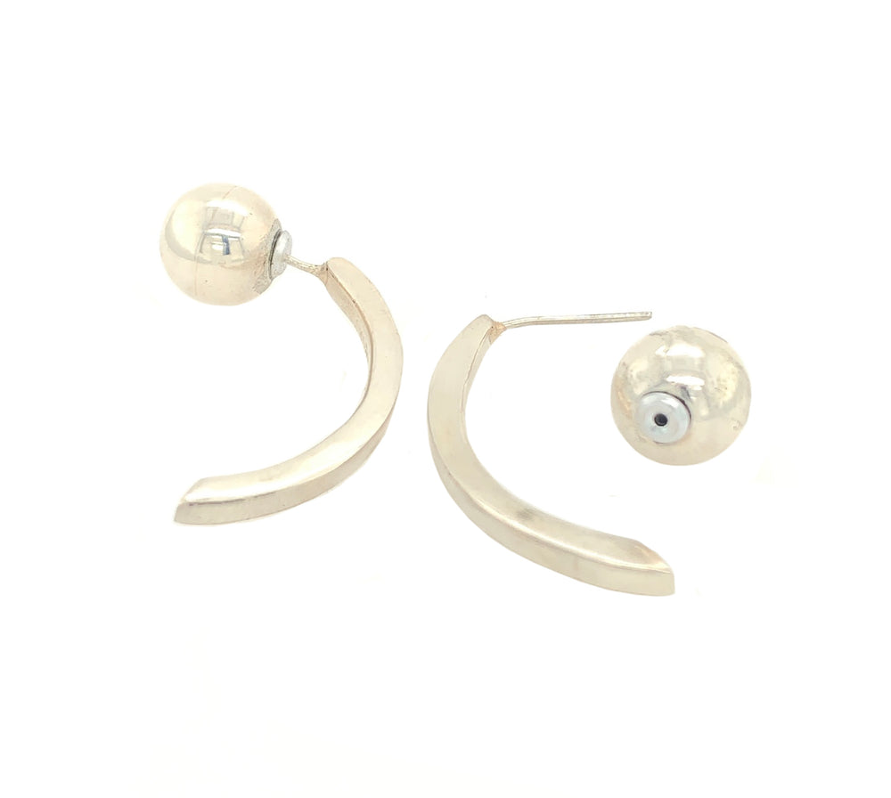 STERLING SILVER SPHERE REVERSIBLE ARCH LARGE EARRINGS