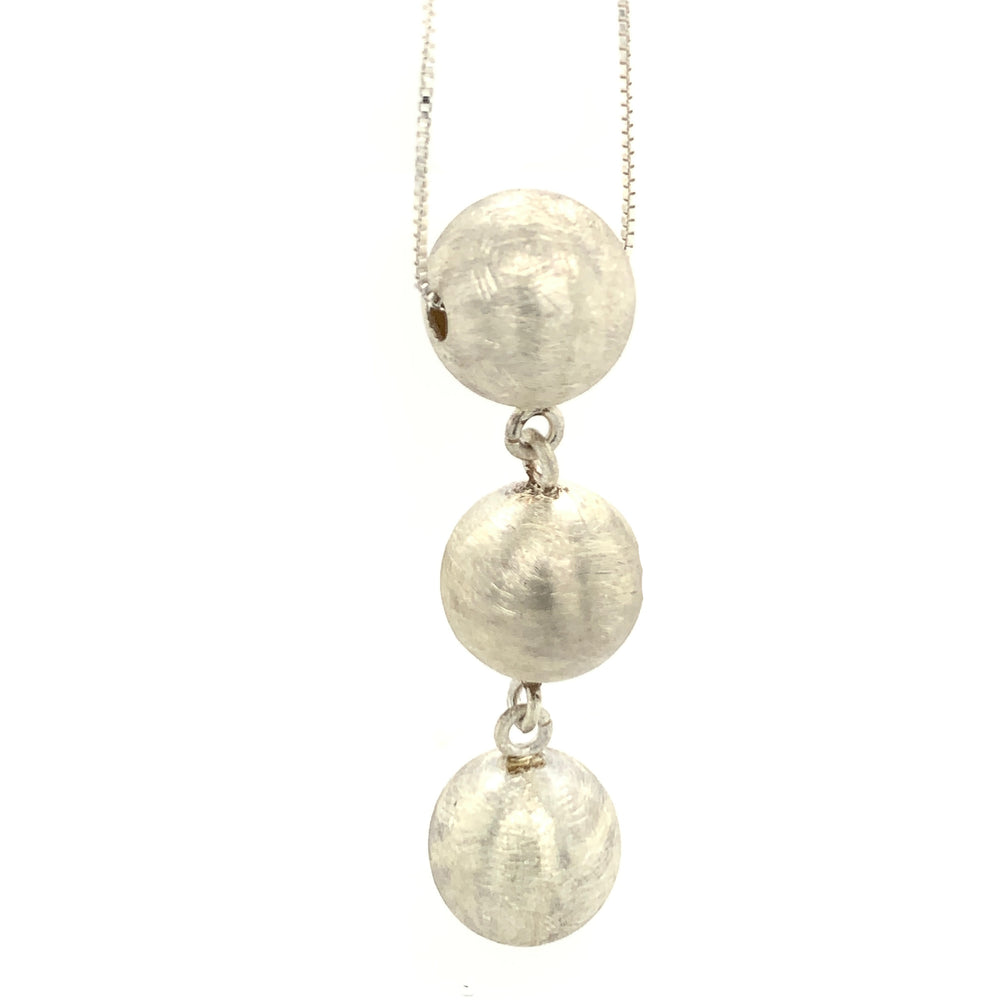 "STERLING SILVER TRIPLE SPHERE PENDANT WITH 30"" CHAIN"