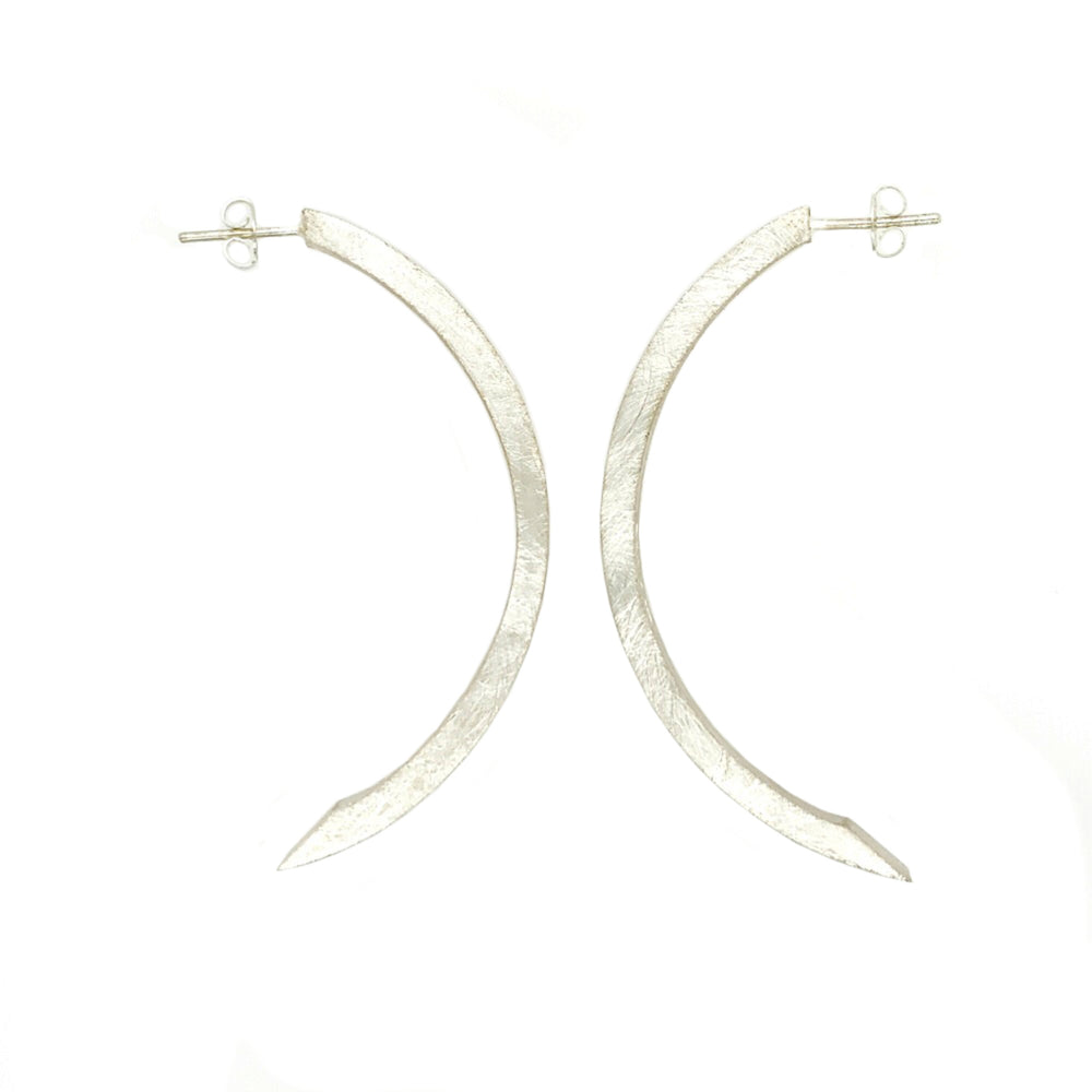 STERLING SILVER CRESCENT MOON HOOP EARRINGS