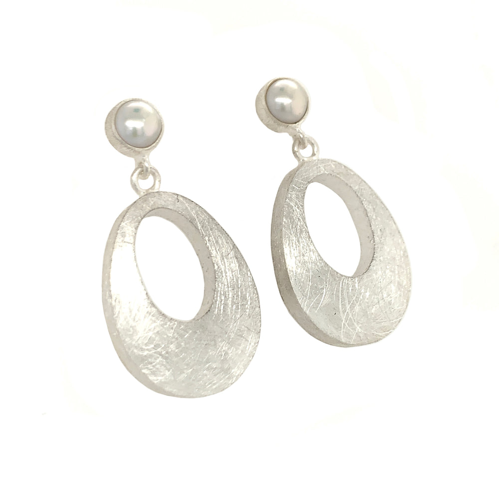 STERLING SILVER FRESH WATER PEARL DROP POST SMALL EARRINGS