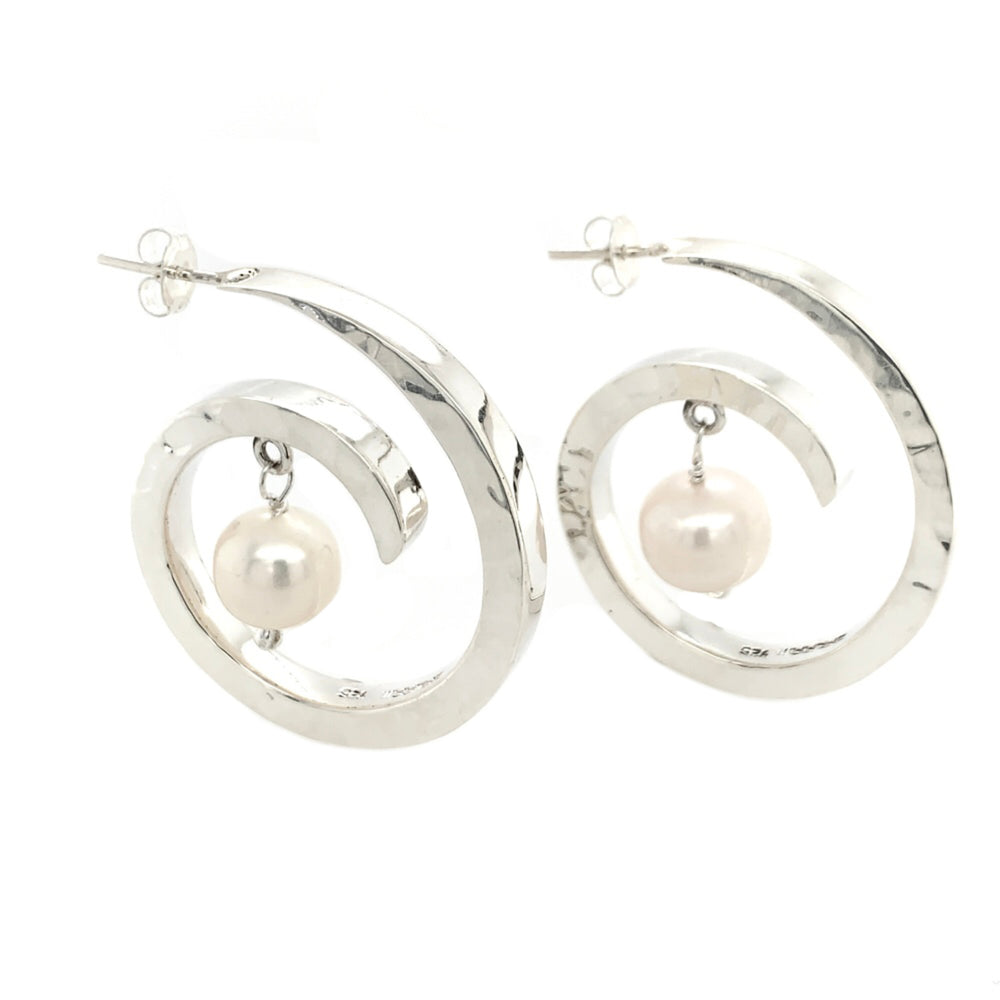 STERLING FRESH WATER PEARL COILED SMALL EARRINGS
