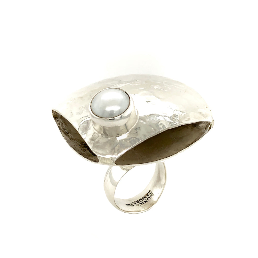 STERLING SILVER FRESH WATER PEARL DOUBLE SIDED RING