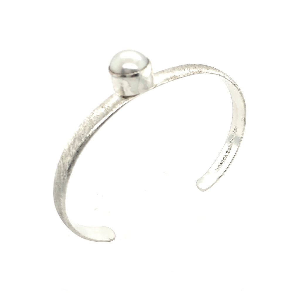 STERLING SILVER FRESH WATER PEARL OPEN CIRCLE CUFF