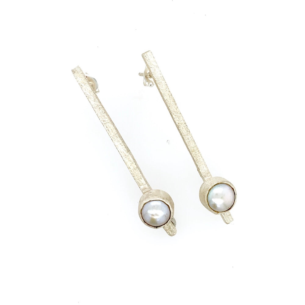STERLING SILVER FRESH WATER PEARL STICK EARRINGS