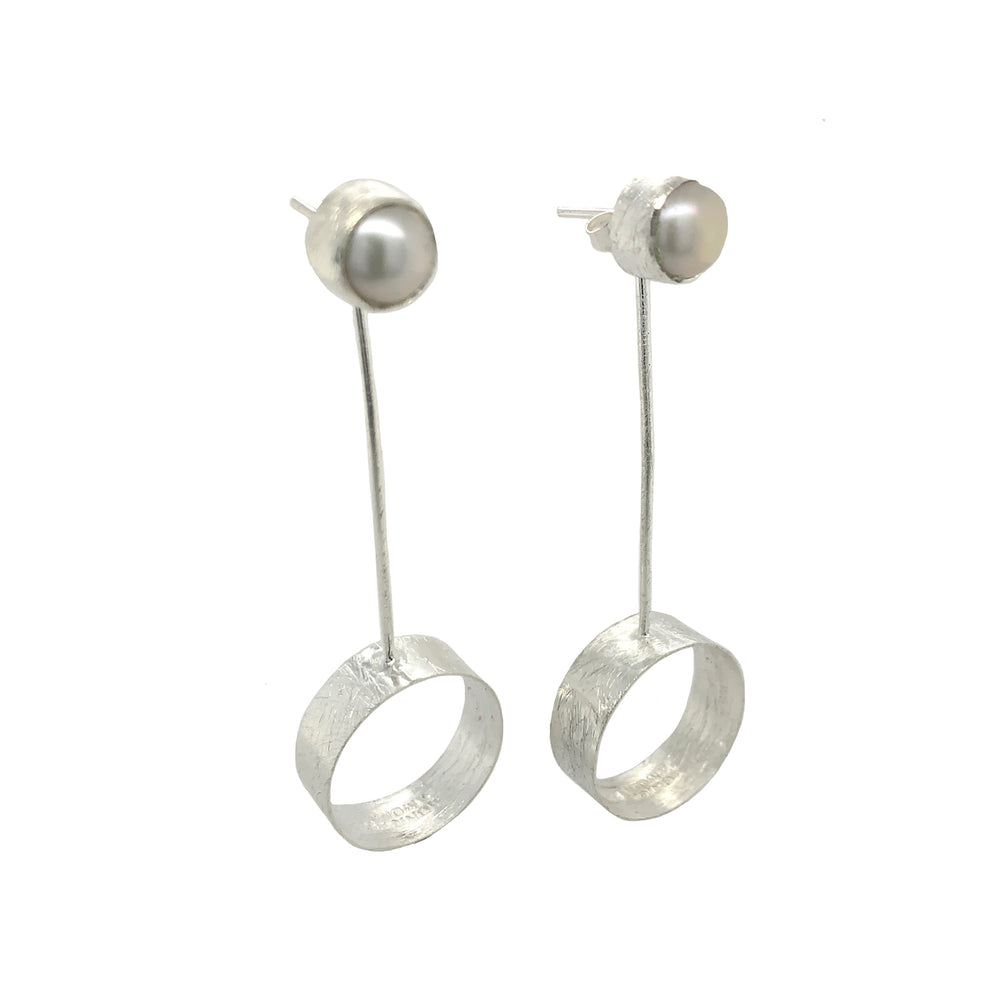 STERLING SILVER ROUND OPEN FRESH WATER PEARL EARRINGS