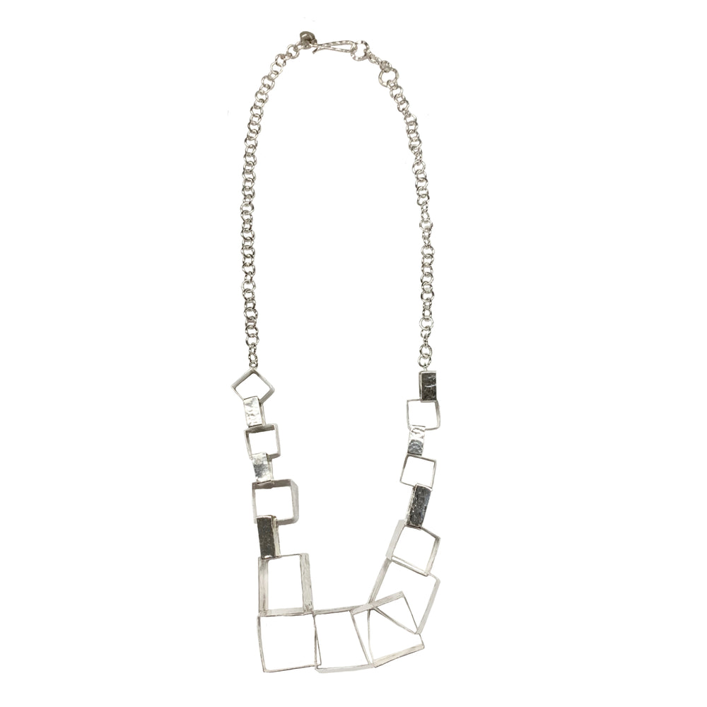 STERLING SILVER SQUARE LINK NECKLACE