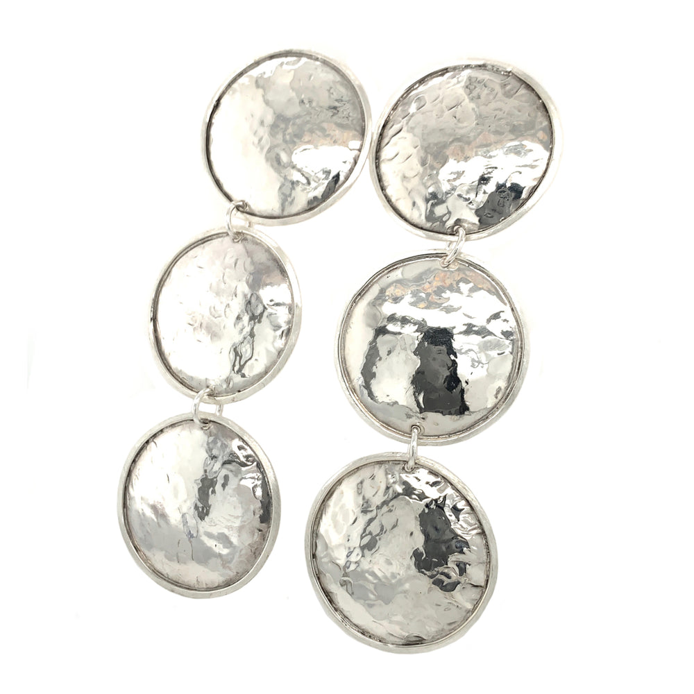 STERLING SILVER TRIPLE DISK POST EARRINGS