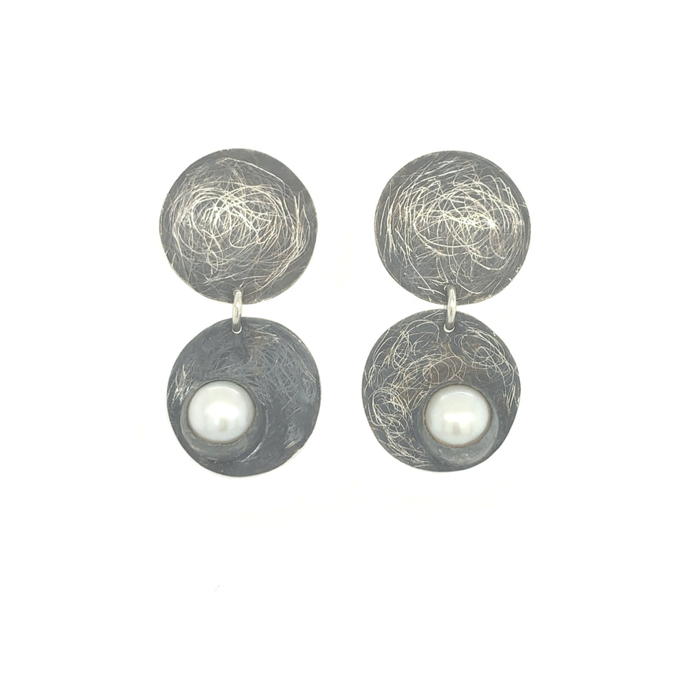 STERLING SILVER DOUBLE DISK FRESH WATER PEARL POST EARRINGS