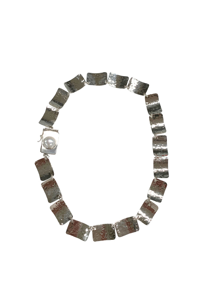 STERLING SILVER SQUARE FLAKES WITH FRESH WATER PEARL NECKLACE